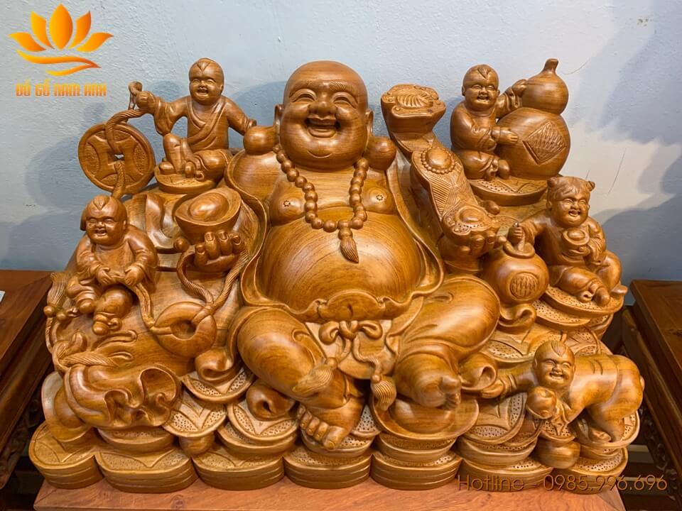 Tượng Di Lặc ngũ phúc ngồi bưng vàng gỗ hương liền khối 35x60x33cm