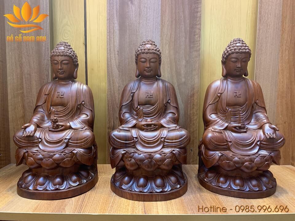 Bộ tượng Tam Thế Phật gỗ hương Gia Lai liền khối 40x20x19cm