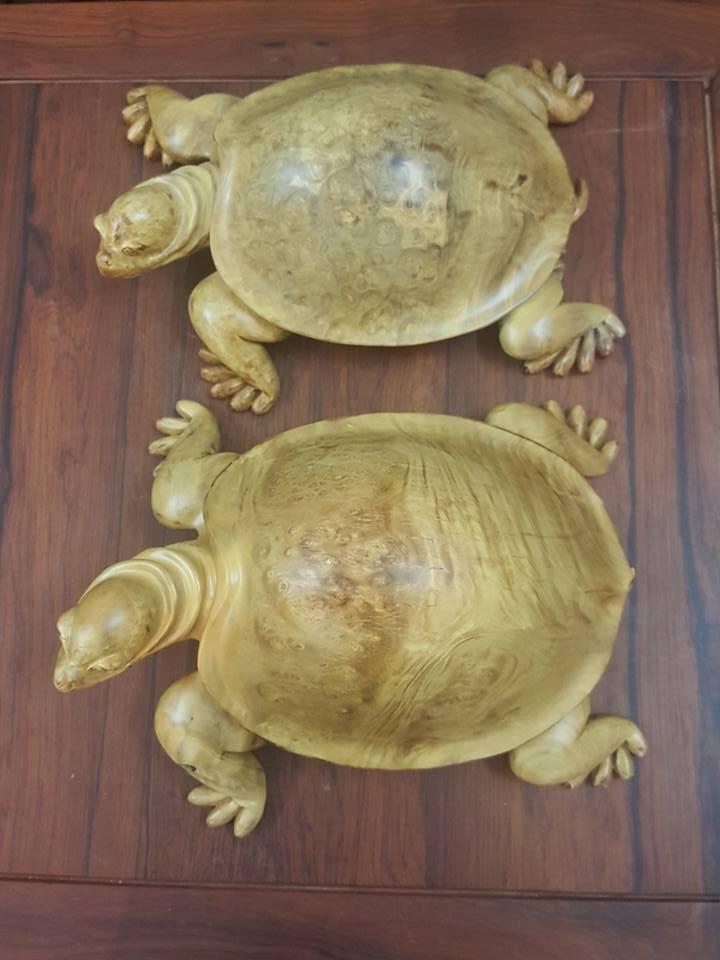 Đôi rùa vàng gỗ ngọc nghiến 16x38x28cm