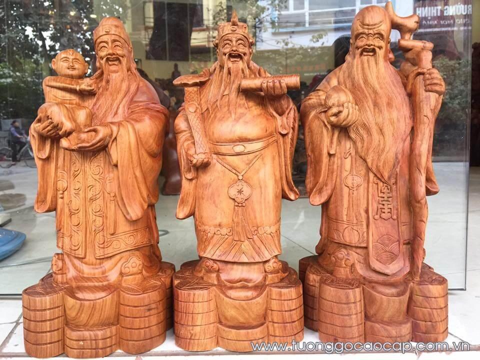 Tượng tam đa gỗ hương cao 40x15x14cm