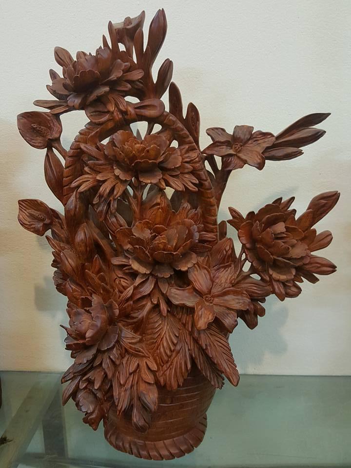 Giỏ hoa cúc gỗ hương 60x40x22cm
