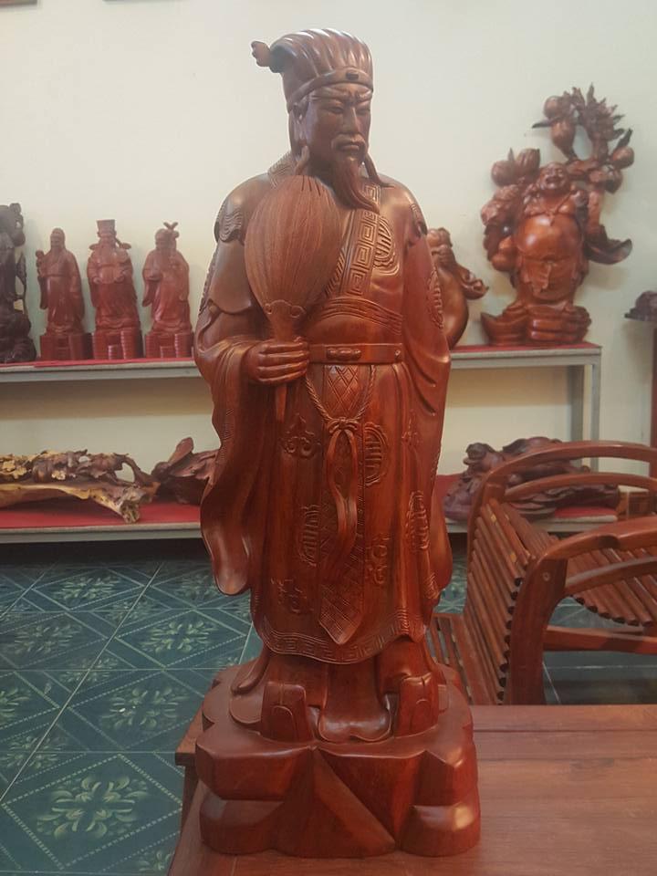 Tượng Khổng Minh gỗ hương 82x29x22cm