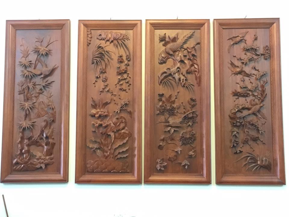 Tranh tứ quý gỗ hương loại to 152x53x4.5cm