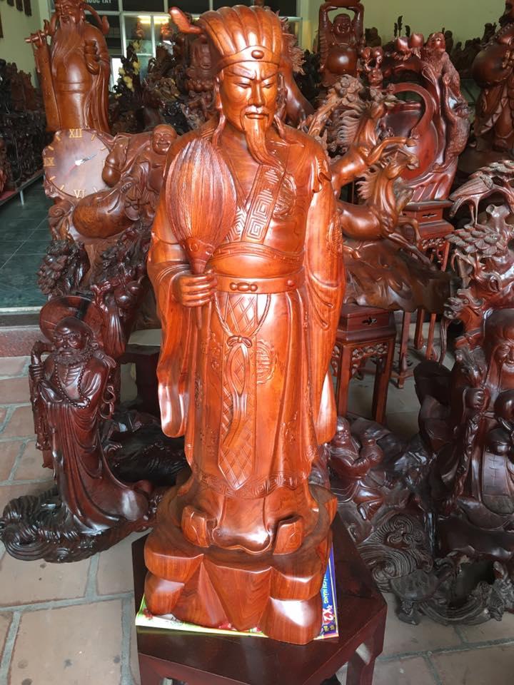 Tượng Khổng Minh gỗ hương 84x28x22cm