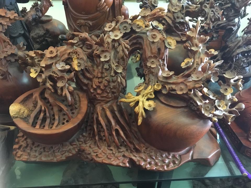 Chậu hoa mai gỗ hương 48x66x32cm