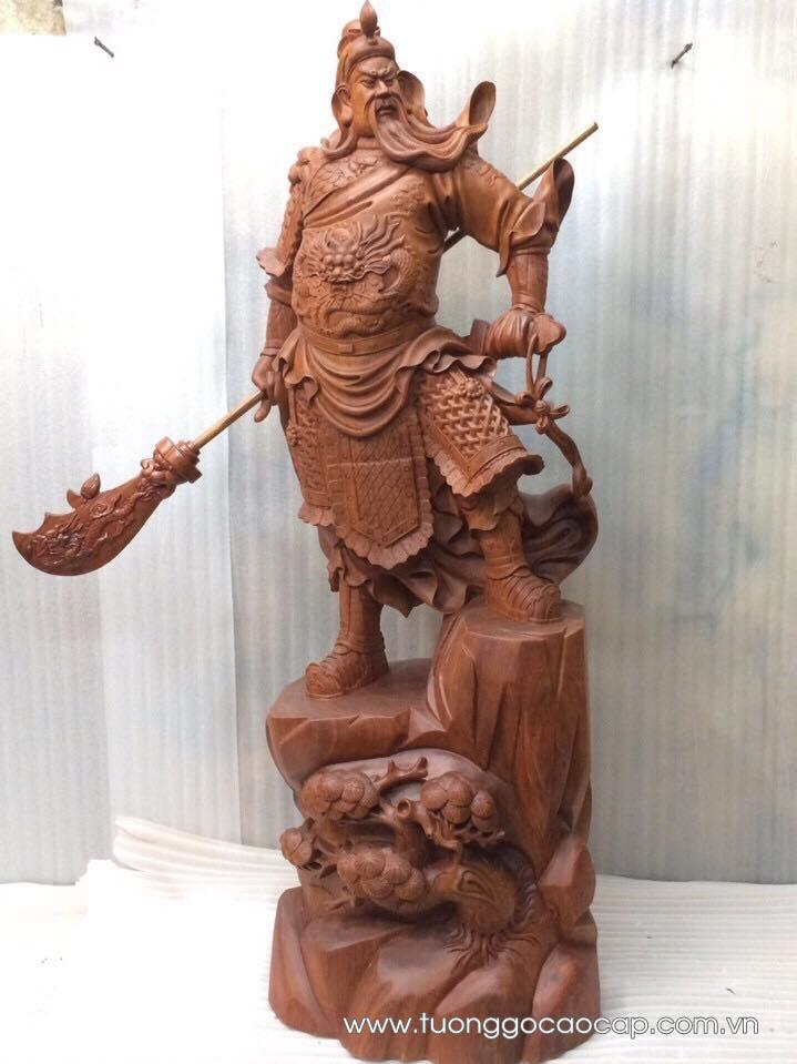 Tượng Quan Công gỗ hương 100x42x34cm