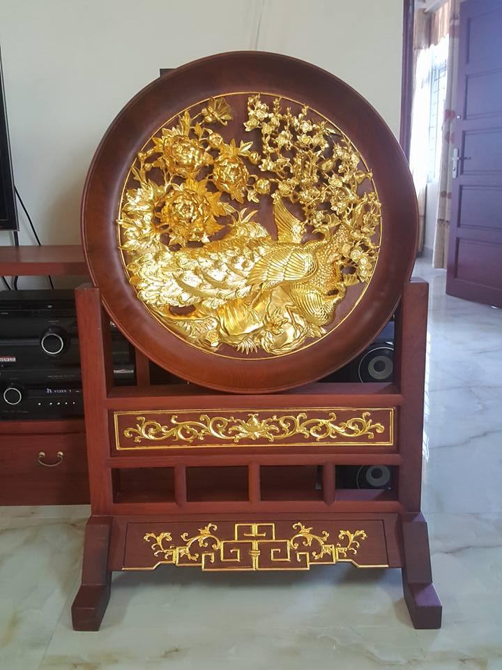 Tranh phù dung công gỗ hương loại to 127x81x50cm