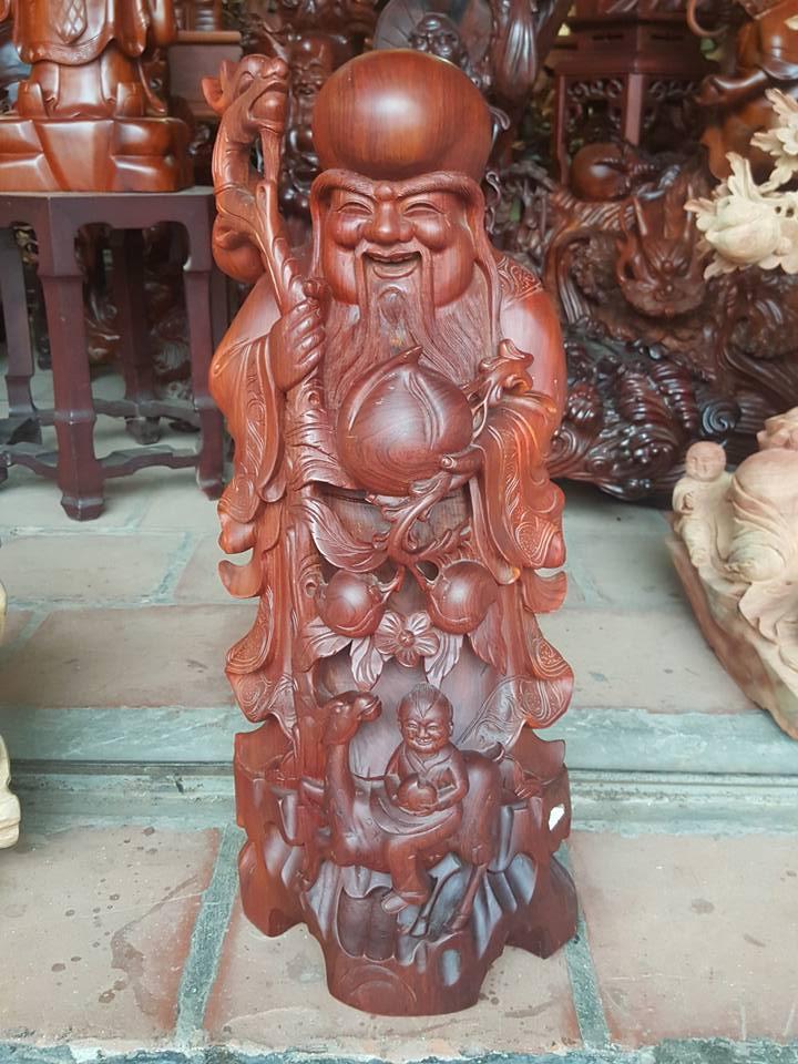 Tượng ông Thọ đào gỗ cẩm lai 60x26x24cm