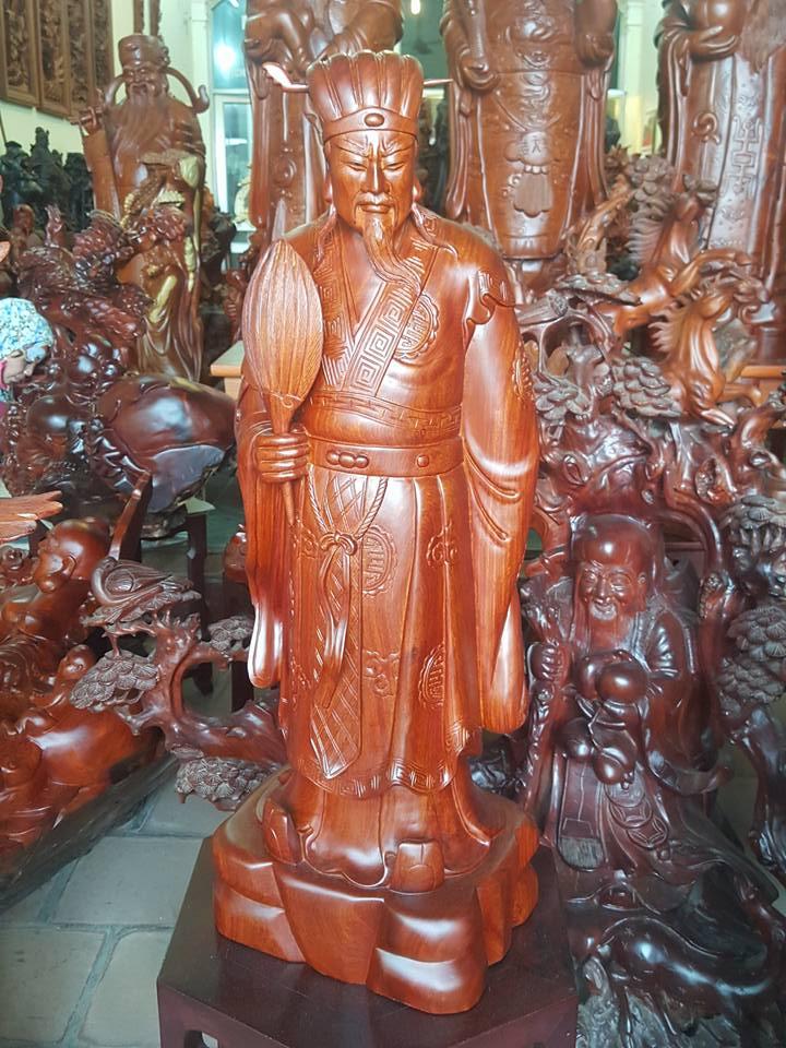 Tượng Khổng Minh gỗ hương 81x28x22cm