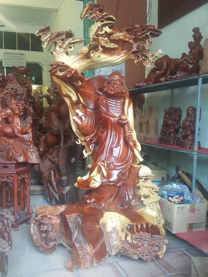 Tượng Đạt Ma gỗ hương loại to 175x90x62cm