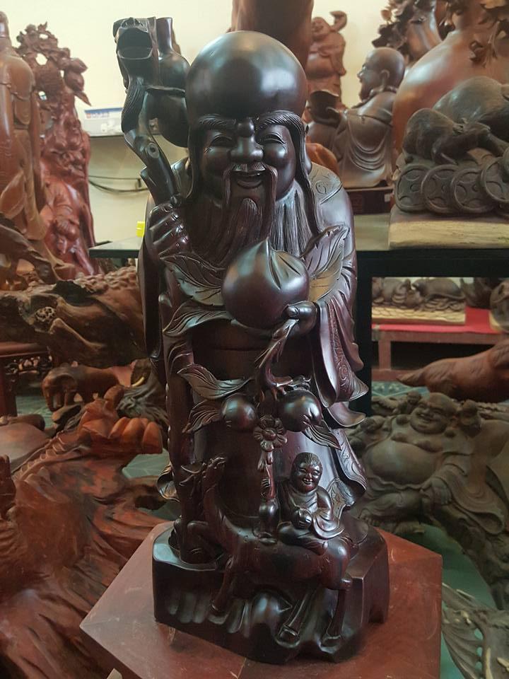 Tượng Thọ đào gỗ cẩm lai 52x22x20cm