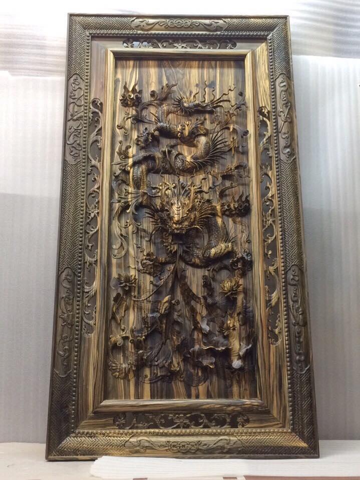 Tranh nhất long gỗ mun hoa 130x70x8cm
