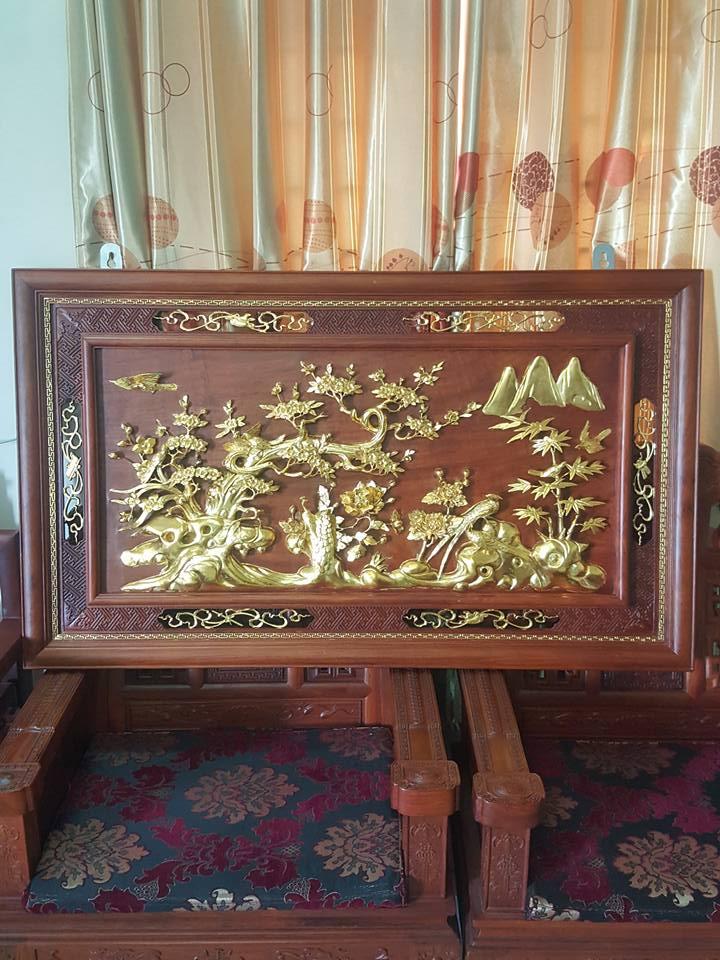 Tranh tứ quý gỗ hương dát vàng 86x145x5cm