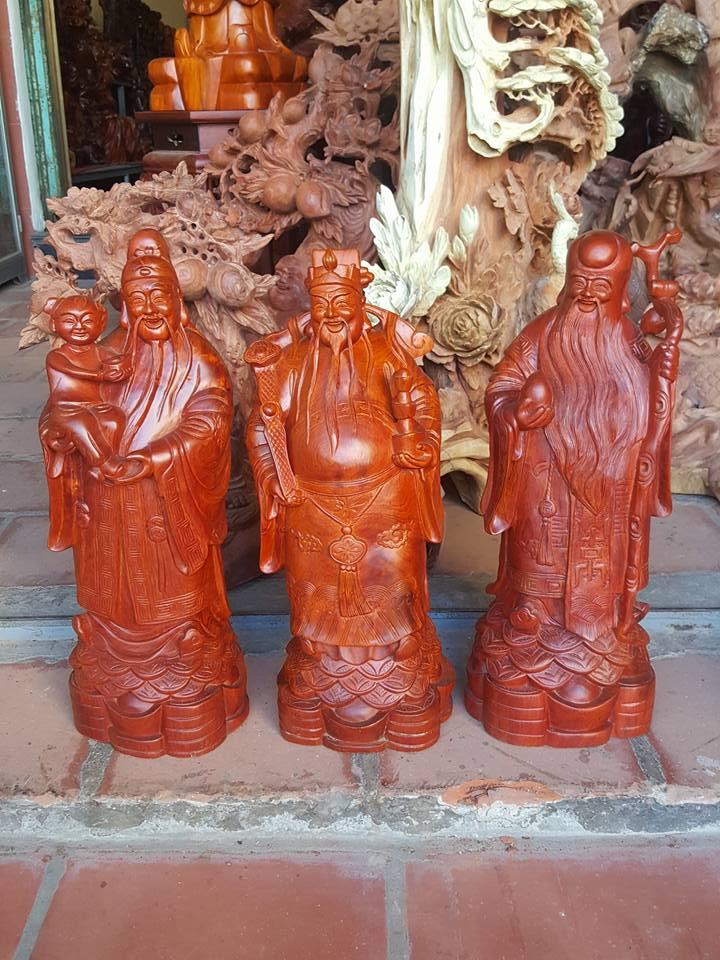 Tượng tam đa phúc lộc thọ gỗ hương 50x19x16cm