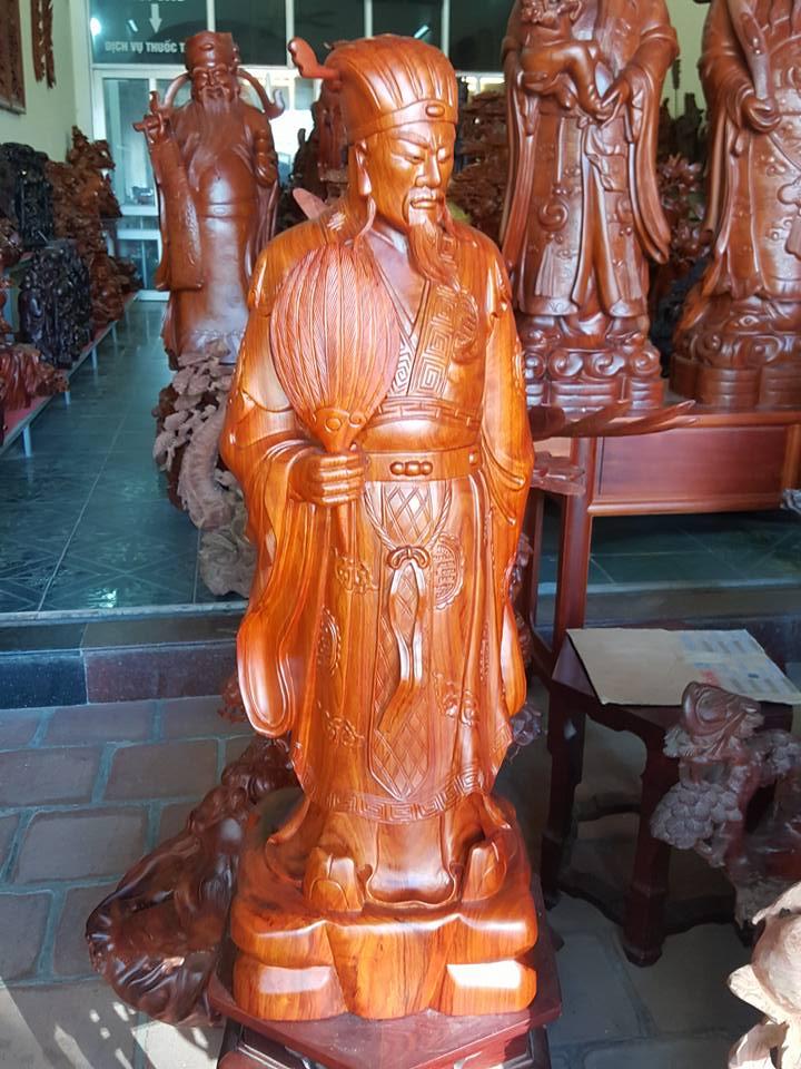 Tượng Khổng Minh gỗ hương 80x27x22cm